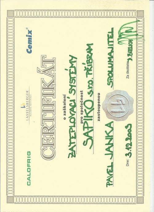 Certifikát CEMIX