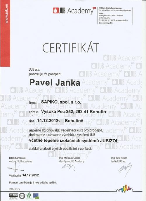 Certifikát JUBIZOL