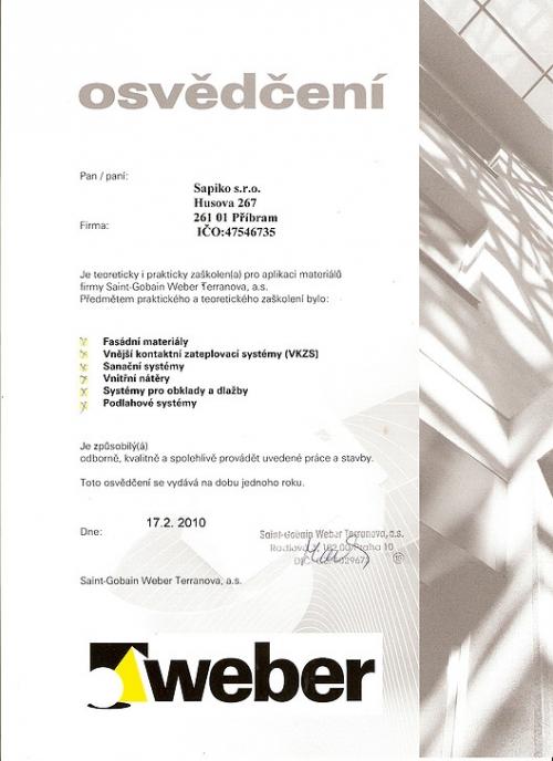 Certifikát Weber