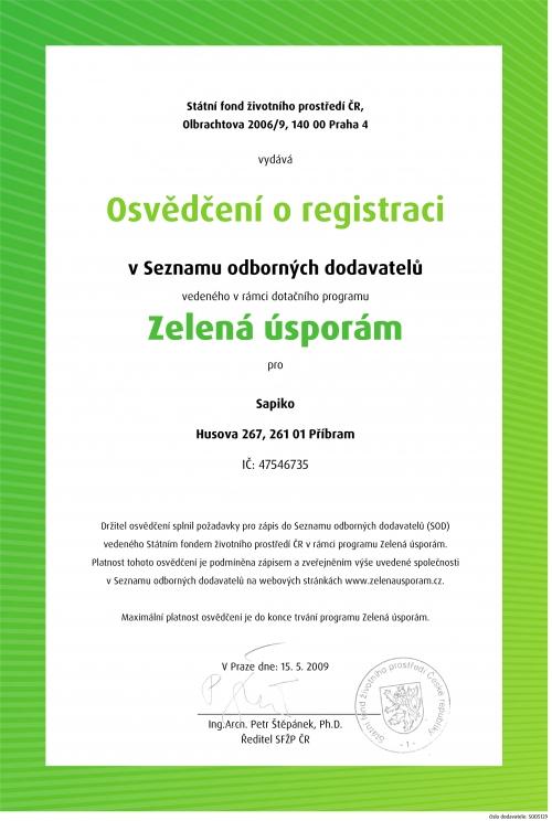 Osvědčení o registraci Zelená úspora